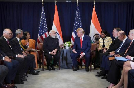 PM Narendra Modi, President Donald Trump and officials meet on sidelines of UN General Assembly in September last year. (Photo PMO India)