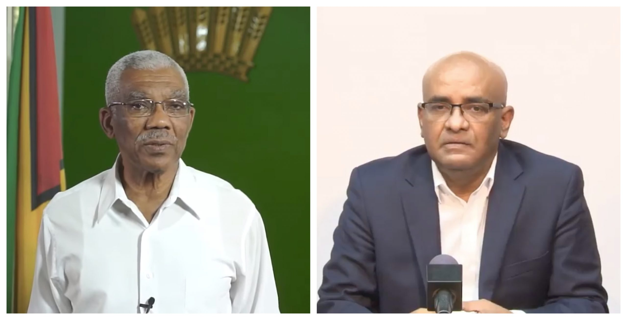 David Granger, caretaker President of Guyana (left) and former President Bharrat Jagdeo.