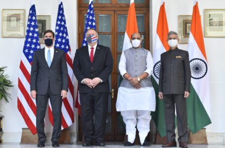 L-R US Defence Secretary Mark Esper, Secretary of State Mike Pompeo, Defence Minister Rajnath Singh and External Affairs Minister S Jaishankar.