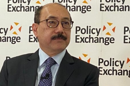 Foreign Secretary Harsh Vardhan Shringla at the UK-based think-tank Policy Exchange where he delivered a lecture on 'India's Vision Of The Indo-Pacific'. Photo courtesy @harshvshringla