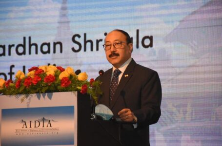 Foreign Secretary Harsh Vardhan Shringla delivering a lecture at the Asian Institute of Diplomacy and International Affairs in Kathmandu on Friday.