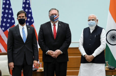U.S. Secretary of State Mike Pompeo (centre) and U.S. Defense Secretary Mark Esper (left) called on Prime Minister Narendra Modi in New Delhi on October 27. (Photo: pmindia.gov.in)