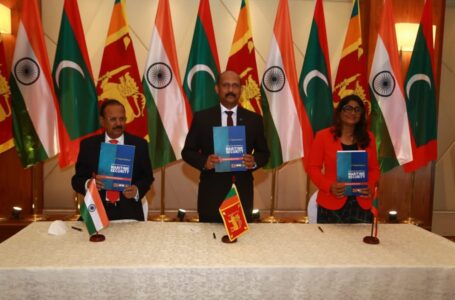 Discussions during the trilateral meeting among India, Sri Lanka and Maldives were formalised through the signing of the minutes by (L to R) NSA Ajit Doval, Sri Lankan Secretary of Defence Maj.Gen. (retd) Kamal Gunaratne and Maldives Defence Minister Mariya Didi.