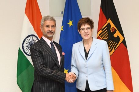 German Defence Minister Annegret-Kramp-Karrenbauer with External Affairs Minister S Jaishankar. Courtesy: @DrSJaishankar