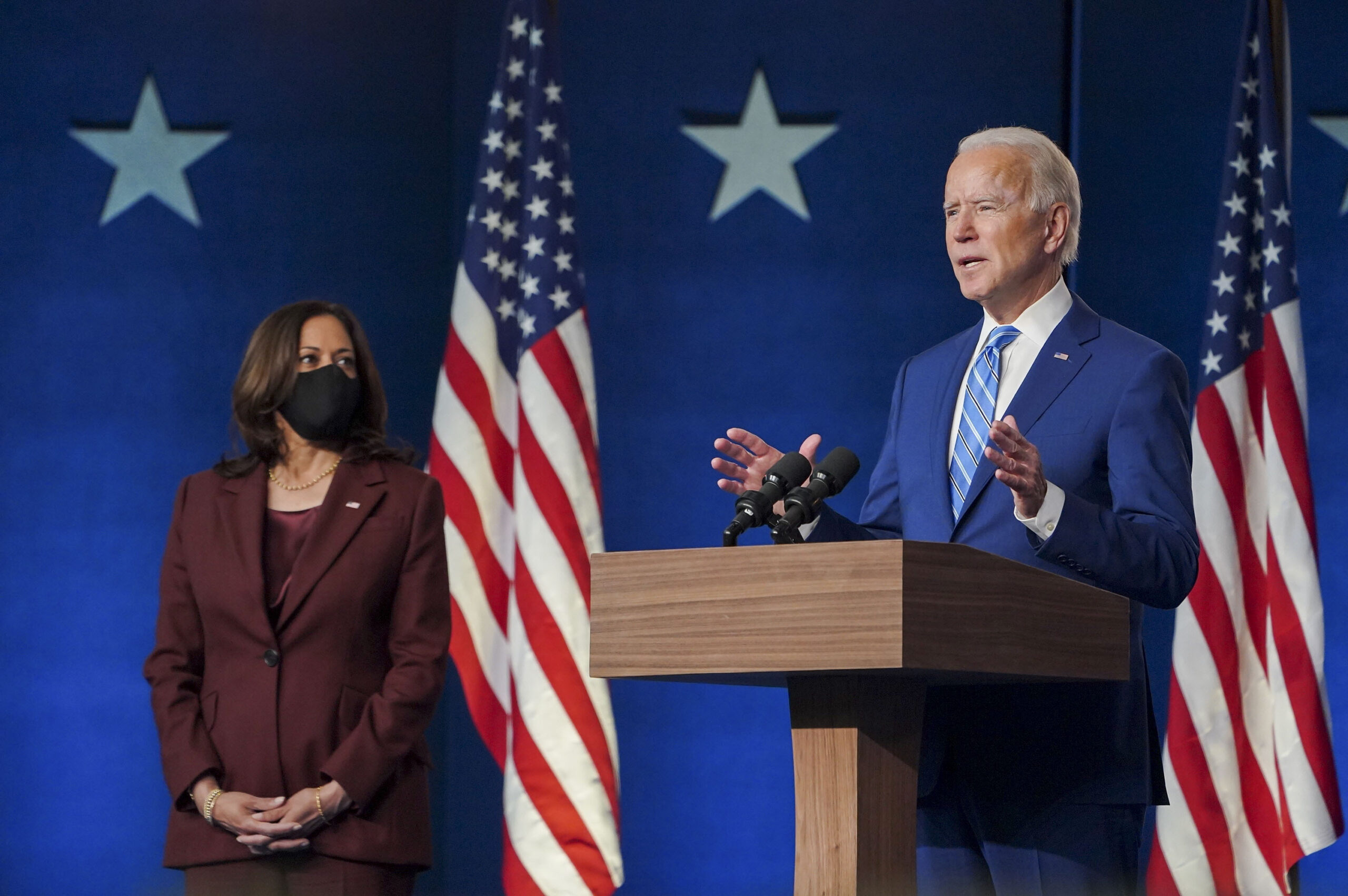 Democrat presidential candidate Joe Biden with his running mate Kamala Harris.  Source : @JoeBiden