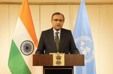 India's Permanent Representative to the UN T.S.Tirumurti announcing the victory of the Indian candidate for election to the crucial budgetary panel of the UN.