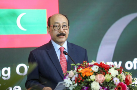 Foreign secretary Harsh Vardhan Shringla speaking at the National Stadium in Malé during his two day visit to the Maldives.