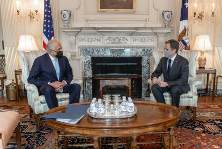 Khalilzad Meets U.S. Secretary of State Blinken On Afghan Peace
